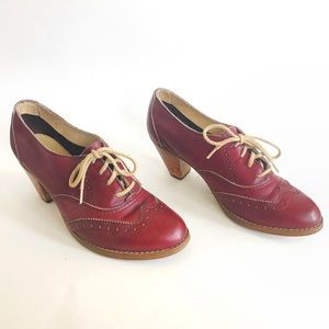 Vintage 60s 70s Shoes 6.5 Lace Up Oxblood Leather